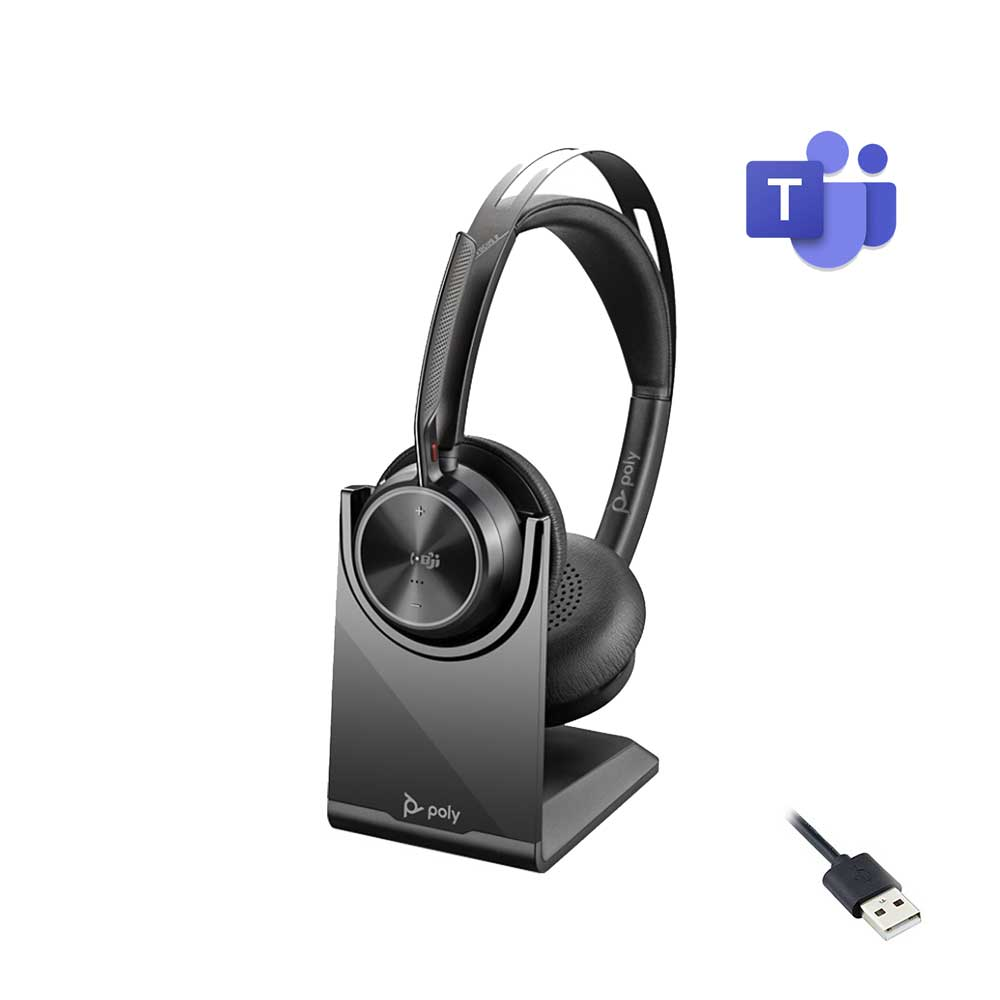 POLY VOYAGER FOCUS 2 UC USB-A CHARGE STAND WIRELESS HEADSET MICROSOFT CERTIFIED